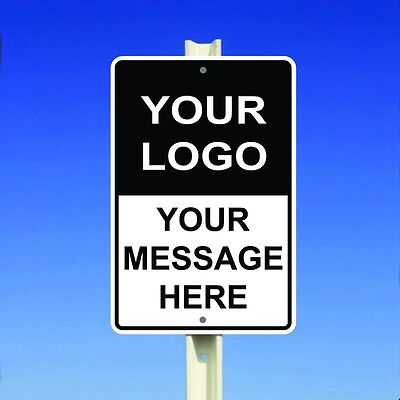 """Custom Personalized Parking Safety Sign With Your Logo Message Aluminum 8""""x12"""""""