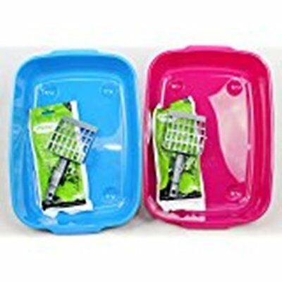 Good Girl Cat Litter Tray Set With Tray Scoop & 6 Litter Liners Blue Or Pink