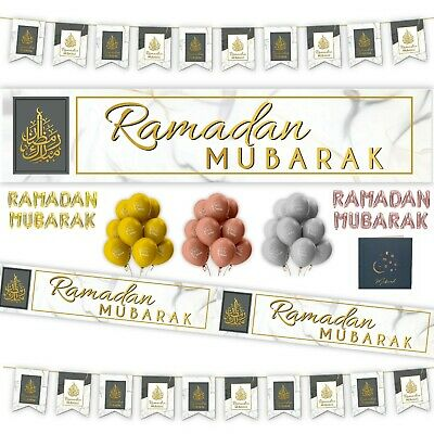 Ramadan Kids Party Decorations Mubarak Badges Banner Balloons Flags Buntings