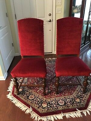 Pair of Refinished Antique 1920's Walnut Upholstered High Back Chairs