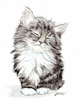 Katze, Cat, Gato, Kitty  , Original,  Aquarell, 30 x 25 cm