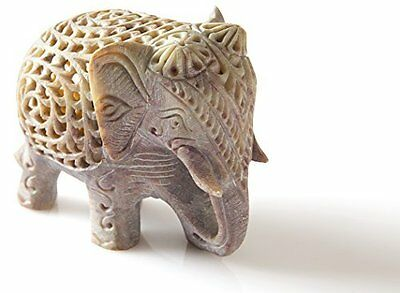 Nested White Elephant Figurine Jali Hand Carved Single Block Stone Home Decor