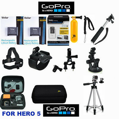 Battery for GoPro HERO5 Black  2PCS + FAST Charger + TRIPOD HD ACCESSORY  KIT