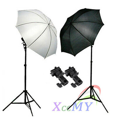 Photo Studio Flash Speedlite Umbrella Lighting Light Stand & 2 Bracket B Kit UK