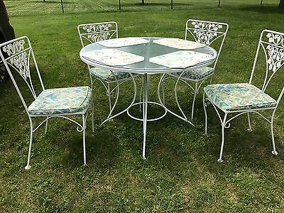 Vintage Wrought Iron Patio Sunroom Porch Dining Set Table 4 Chairs White
