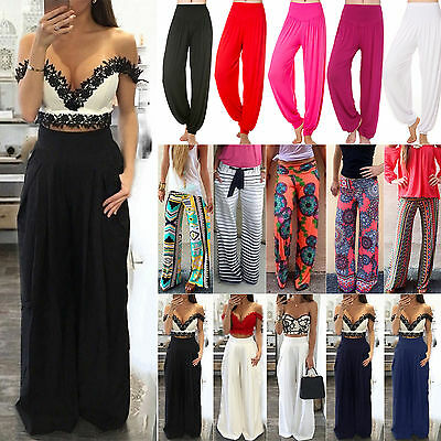 Women Boho Palazzo Trousers Wide Leg High Waist Long Loose Casual Harem Pants