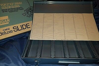 NEW Logan  Deluxe Metal File Storage Box 2x2 35mm Slides Coin holds 300 VINTAGE