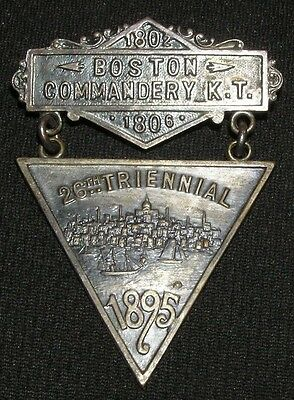 1895 KNIGHTS TEMPLAR BOSTON MA COMMANDERY 28th TRIENNIAL MASONIC MEDAL PIN NICE!