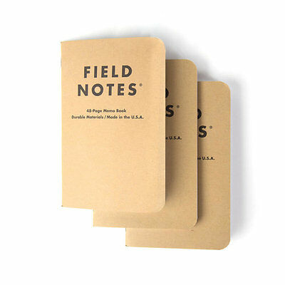 New Field Notes Plain Paper 3 Pack Notebook - cover.pitch.black.Ruled.planner.