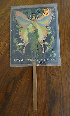 1920's Putnam Fadeless Dyes Tints Advertising Hand Fan