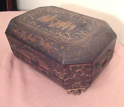 antique 1835 Japanese handmade lacquered wood bronze painted sewing box 19c.