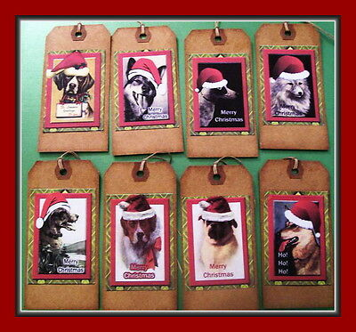 Christmas Dogs In Santa Hats - Primitive Vintage Hang Tags - Set Of Eight Dogs