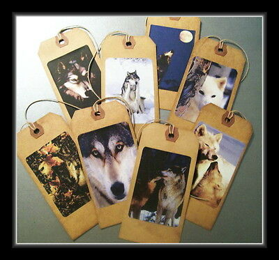 Wolves In The Wilderness - Primitive Hang Tags - Set #1 - From Vintage Cards
