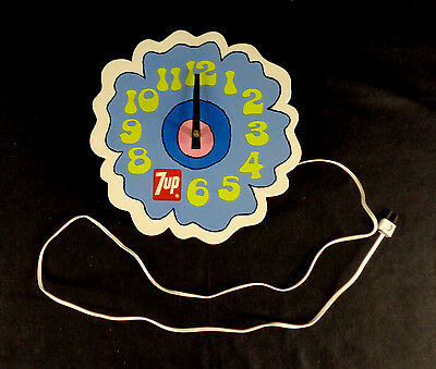 """Vintage Authentic 1970's 7-Up Soda Peter Max Style 12"""" Electric Wall Clock Sign"""