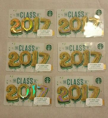 6 New Starbucks Class Of 2017 Gift Cards Lot