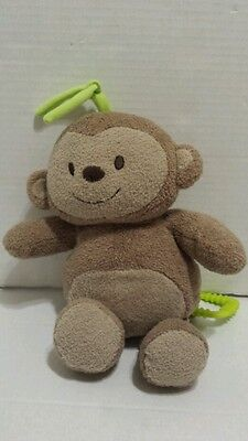Carter's Just One Year Pink Musical Baby Brown Monkey Baby Crib Toy Plush