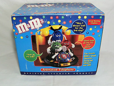 M & M blue red green Animated Talking Telephone 3 M&M's / M&M home desk Vintage