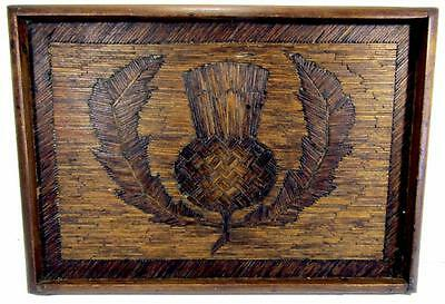 Tray Matchstick Art Scotch Thistle Vintage Hand Crafted 39 x 27 cm