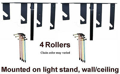 4-Roller Photography Studio Manual Mount Background Backdrop Support System 03