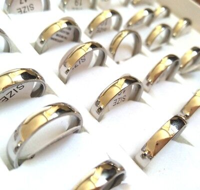 50pcs Silver Polish 4mm Plain Comfort fit Stainless Steel Wedding Band Rings