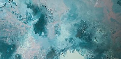 Modern Original Abstract Canvas Painting Teal Mint White Grey Dee's Funky Art