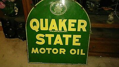 antique Quaker State porcelain double sided sign