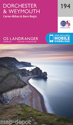 DORCHESTER & WEYMOUTH LANDRANGER MAP 194 - Ordnance Survey - OS - NEW 2016