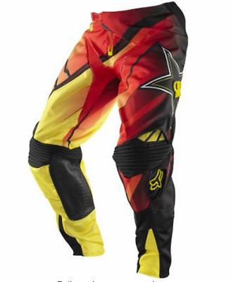 FOX 360 ROCKSTAR MOTOCROSS PANTS #28 NEW RRP$199 Motorcross MX red yellow