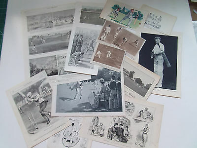 CRICKET LOT OF 14 ANTIQUE &VINTAGE PRINTS ALL IN GOOD CONDITION 1880s-1930s
