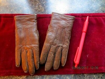 "Vintage Childs Boys Brown Leather Gloves, lined 6 "" long TINY"