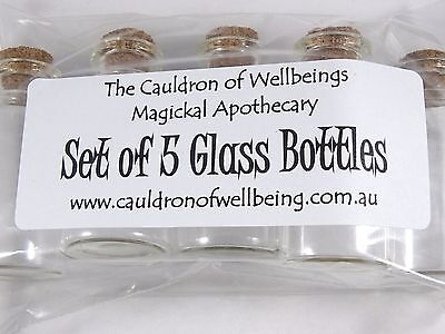 Spell Bottle - Set of 5 Glass Bottles, Wicca Ritual, Pagan Spellcraft
