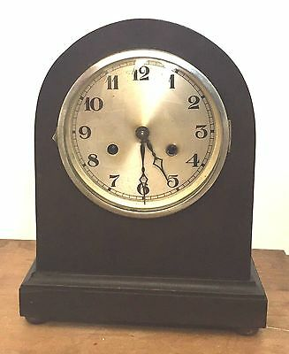 "German Oak Dome Case Striking Mantle Clock c1900 GWO 12""H 9.5""W 5.5""D"
