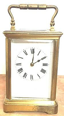 "Brass Case French made Enamelled Face Striking Carriage Clock GWO 4,5""H"