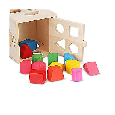 Wooden Shape Sorting Cube Classic Square Shape Sorter Baby First Blocks Shape...