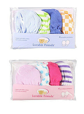 Luvable Friends Boys & Girls Multiple Designs 4-Pack Scratch Mittens