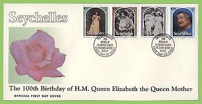 Seychelles 2000 Queen Mothers 100th Birthday set on First Day Cover