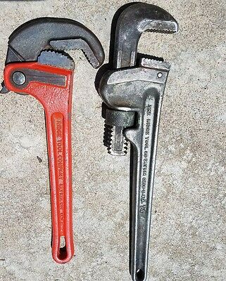 """Two RIDGID PIPE WRENCHES 14"""" REGULAR,AND  12"""" RAPID GRIP GOOD WORKING CONDITION"""
