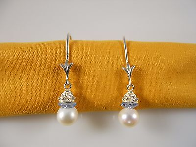 Sterling Silver, AAA White Freshwater Pearl With Faceted Sapphire Gem Earrings