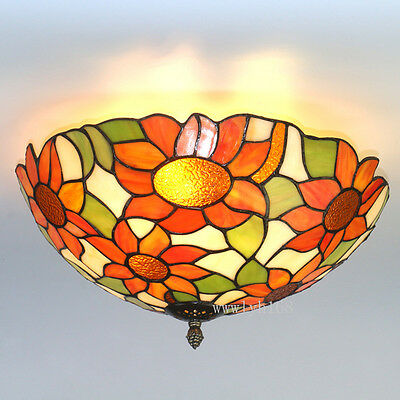 Tiffany Style Sun Flower Vintage Light Stained Glass Ceiling Lighting Fixture