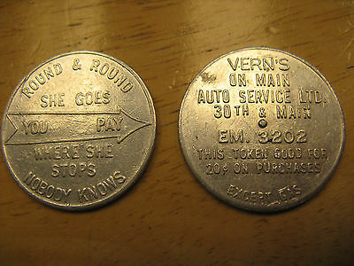 Vancouver BC Verns on Main Auto Service Spinner Token ca 1950s - lot of 2 pieces