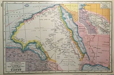 Vintage Antique Original 1920 Map Of Arabia Asia Print & Lower Mesopotamia Map