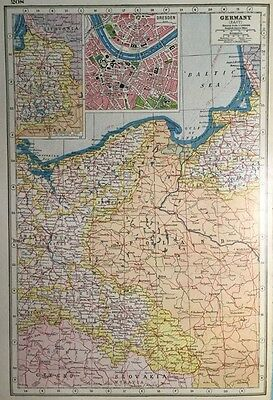 Vintage Antique Original 1920 Map Of East Germany & Map Or Dresden Print