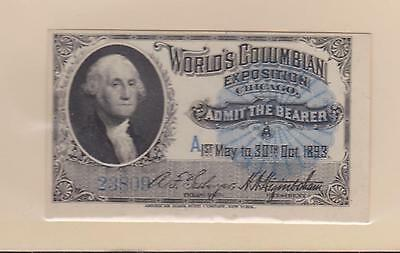 World's Fairs - Admission Ticket, Columbian Exposition 1893