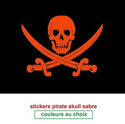 stickers  sticker pirate skull epée-Tailles é couleurs o choix