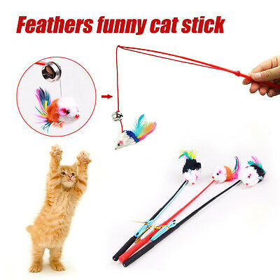 Faux Mouse Feather Dangle Fun Play Toy Teaser Bell For Pet Cat Kitten Kitty