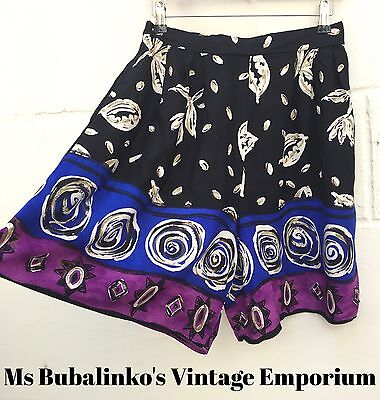 Vintage 90s Black Abstract Pattern High Waist Culottes Shorts Size 10 12 Boho
