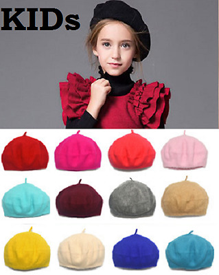 Kids Children Fashion Unisex Wool Warm Beret Beanie Hat Cap French Style Gift UK