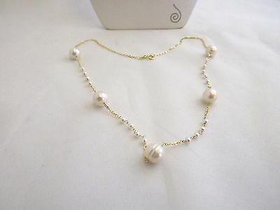 "Honora 14K Yellow Gold Cultured Pearl 18""  Station Necklace  New"