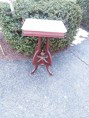 Antique Victorian  walnut marble top stand