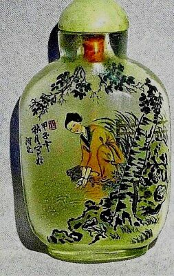 Antique Chinese Peking Glass Reverse Painted Snuff Bottle Signed